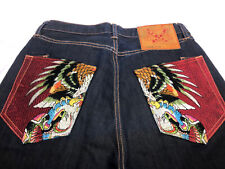 Ed Hardy Eagle Strikes Embroidered Pocket Dark Jeans 32 X 34