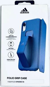 """Adidas Folio Sports Grip Apple iPhone XR 6.1"""" Wallet Phone Case Cover Blue"""