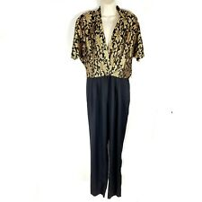 Vintage Joan Walters V-Neck Gold Black Floral Career Jumpsuit Pantsuit Romper 14