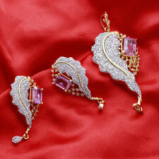 Indian Bollywood Pendant Gold Tone AD Necklace Earrings Women Gift Jewelry Set