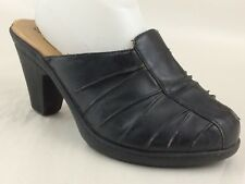 SBicca Fawn Womens 8.5 Wide High Heel Mules Black Slip On Clog Shoe Faux Leather