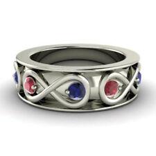 0.80 Ct Natural Sapphire Ruby Wedding Band 950 Platinum Gemstone Ring Size N K M