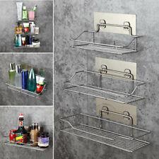 Stainless Steel Shelf Shower Basket Bathroom Wall Mounted Storage Rack Adhesive