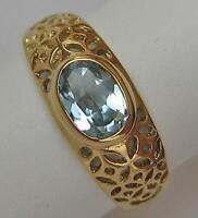 Ring mit Aquamarin in aus 8 Kt. 333 Gold Gr. 54 Aquamarinring Finger Damen Ringe