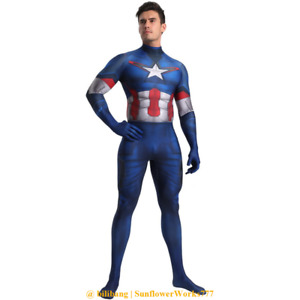 New Captain America Zentai Cosplay Costume Skinny Bodysuit Comicon Suit