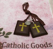 2 1/4 inch - Crusader - Brown Wool Scapular -  NEW
