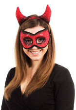 DEVIL MASK HORNS HEADBAND MASQUERADE RED EYEMASK COSTUME FANCY DRESS OUTFIT NEW