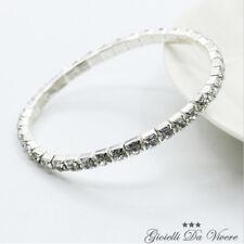 BRACCIALE ARGENTO strass donna cristalli sposa elegante cerimonia bracelet