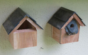 2 x Bird houses nesting boxes great tits sparrows Robins Wrens