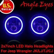 "For Jeep Wrangler JK/CJ 2x7"" PHILIPS 120W Total LED Halo Headlights Angel Eyes P"