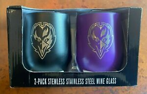Baltimore Ravens NFL Stainless Steel 2 Pack Stemless Wine Tumbler Glass insulate