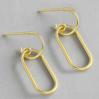 18K Gold Hollow Square Drop Earrings for Women Solid 925 Sterling Silver Jewelry