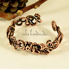 WOMEN'S ANTIQUED COPPER CUFF WIRE WRAPPED BRACELET MBA HANDMADE