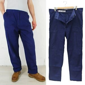 Vintage Mens 70s French Herringbone Twill Cotton Work Chore Pants Trousers Navy