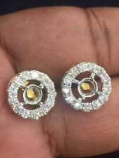 Pave 1.27 TCW Natural Diamonds Solitaire Stud Earrings Mount In 750 18Karat Gold