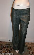 A.L.C 100% VIRGIN WOOL WOMEN PANTS MULTI PLAIDS MADE IN USA OF ITALIAN FABRIC  8