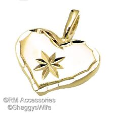 Solid Heart with Star Burst Charm / Pendant EP Gold Plated w/ Lifetime Guarantee