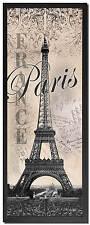 "NEW Framed Eiffel Tower Vintage Travel Wall Art Print Paris France 6""x18"""