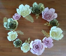 Set of 12 Paper Flowers for Wall Décor, Backdrops,Weddings,Shower s decoration