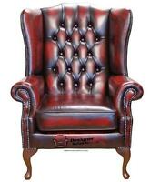 Chesterfield Prince's Flat Wing Queen Anne High Back Chair Oxblood Leather