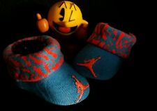 Air Jordan Baby Boy Newborn Infant Elephant Print Booties Blue & Orange 0-6M