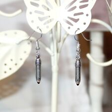 Cute mini Pencil earrings, silver plate with black enamel tip