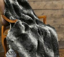 "Black Wolf Fur Throw - Luxurious Faux Fur - Large 54"" x 60"" - Free Shipping"