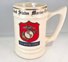 Vintage united states marine corps shield logo ceramic mug stein wc bunting htf