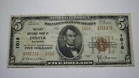 $5 1929 Denver Colorado CO National Currency Bank Note Bill Charter #1016 RARE