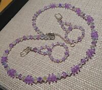 Swarovski Violet 6200 & Bicone Bead Necklace w/ Earrings Hand Made USA Seller