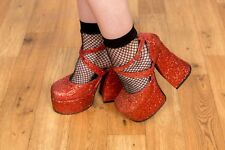 90s does 70s vintage red glitter glam rock platform heels size 5 by Shellys