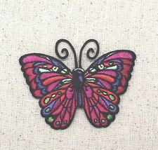 Iron On Patch Embroidered Applique - Dark Fuchsia Butterfly Jewel Tones SMALL