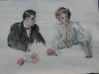 1910s HOWARD CHANDLER CHRISTY Watercolor Painting PERIOD REPRO sgnd ANTIQUE