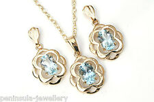 9ct Gold Blue Topaz Celtic Pendant necklace and Earring Set Made in UK Boxed