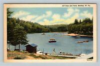 Beckley WV, Scenic Dam, Park, Lake, Boat, Swimming, Linen West Virginia Postcard
