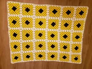 Vintage Hand Crochet Lap Throw - Yellow, Brown and White - Cheerful