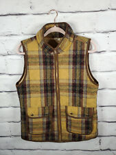 Before You Womens Medium Full Zip Vest Quilted Lined Equestrian Plaid Flannel