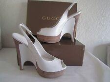 GUCCI White Leather 'Clemence' Platform Slingbacks Sz 381/2  Us 8.5  $795