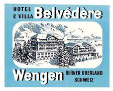 Hotel Belvédère WENGEN Switzerland luggage label Kofferaufkleber   x0746