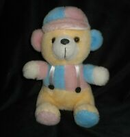 "10"" 2002 KING PLUSH CREME PINK & BLUE HAT TEDDY BEAR STUFFED ANIMAL TOY LOVEY"