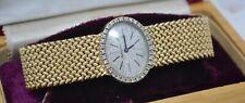 c. 1970 Mathey-Tissot Solid 14k Gold Ladies Wristwatch w/ Mesh Strap & Diamonds