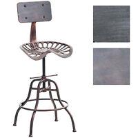 Tabouret de bar industriel ESSEN réglable en hauteur avec repose pied et dossier