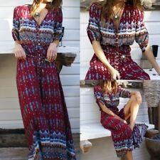 UK Womens Loose V Neck Plunge Party Evening Hippie Boho Long Maxi Dress Kaftan
