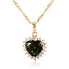 Green Crystal heart Pendant chain long necklace Yellow Gold Filled jewelry lots