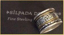 "Retired Silpada 925 Sterling Silver Brass Spin Cuff ""Twirl Ring"" Sz 6 R2293 RARE"