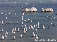 POSTCARD ROUND THE ISLAND RACE, ISLE OF WIGHT. LIFEBOAT & NEEDLES LIGHTHOUSE