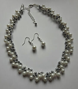 """Pearl Crystal glass Bead NECKLACE VINTAGE style SILVER WHITE  glass 16"""""""