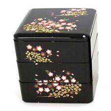 "Japanese Jubako 3 Tier Box Black Cherry Blossom Design 4.5"""