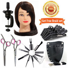 100% Real Hairdressing Training Head Cosmetology Mannequin +Salon Tools Kits