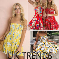UK Womens Holiday Mini Dress Ladies Floral Print Summer Beach Playsuits Size6-14